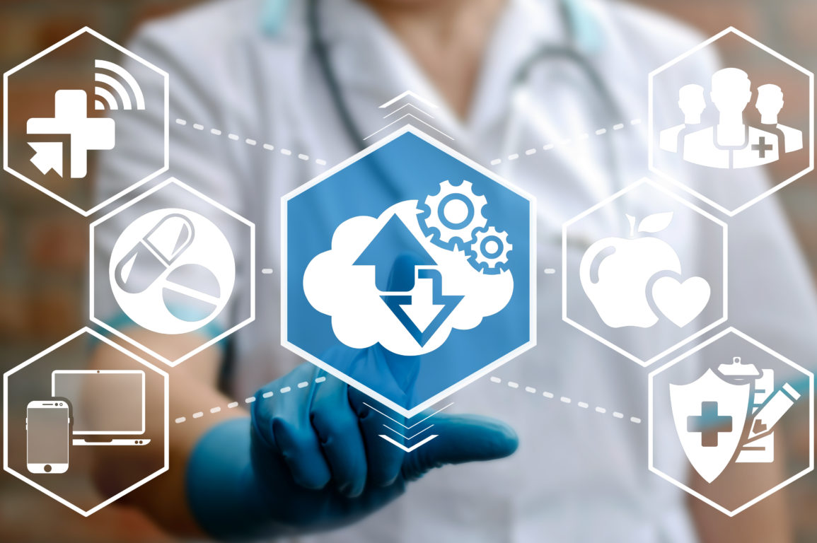 Image of doctor touching glass screen with digital health icons