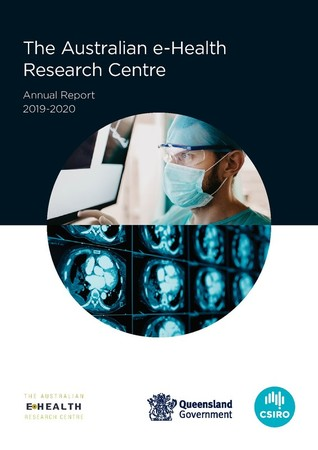 Front page of the AEHRC Annual Report 2019 2020 which has an image of a medical practitioner and MRI images in a circle and the report's title