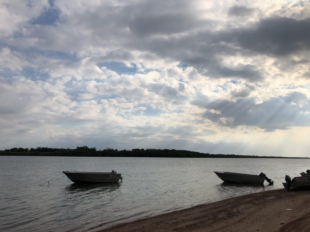 The Archer River at Aurukun with two boats moored