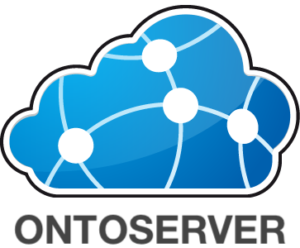 Ontoserver image which is blue and cloud shaped with connective dots inside the cloud